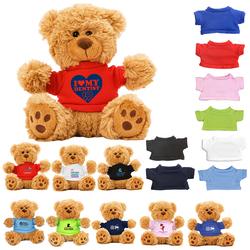 "6"" Plush Teddy Bear With Choice of T-Shirt Color"