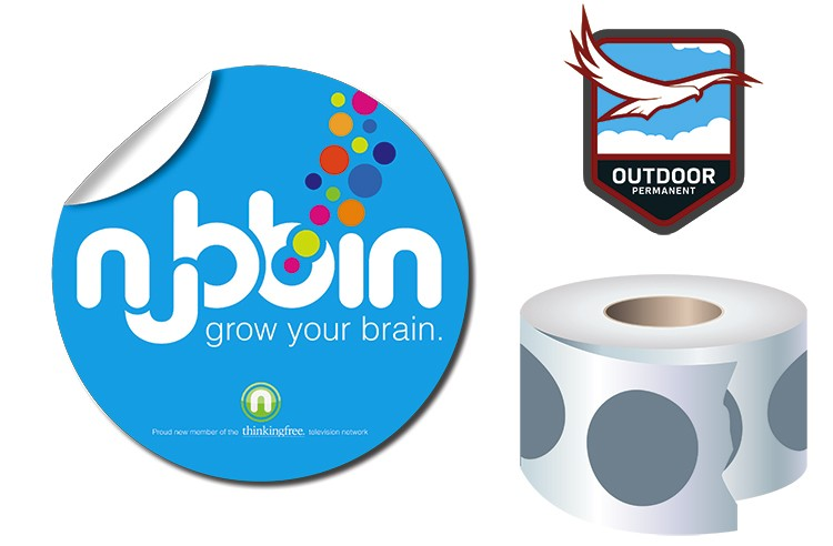 Roll Stickers / Decal - Outdoor Permanent - 4.0 Diameter Round Shape