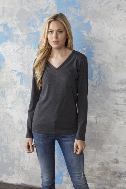 Ladies V-Neck Long Sleeve T-Shirt
