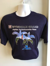 Full color high resolution Soft Heat Press on a Navy blue T-shirt
