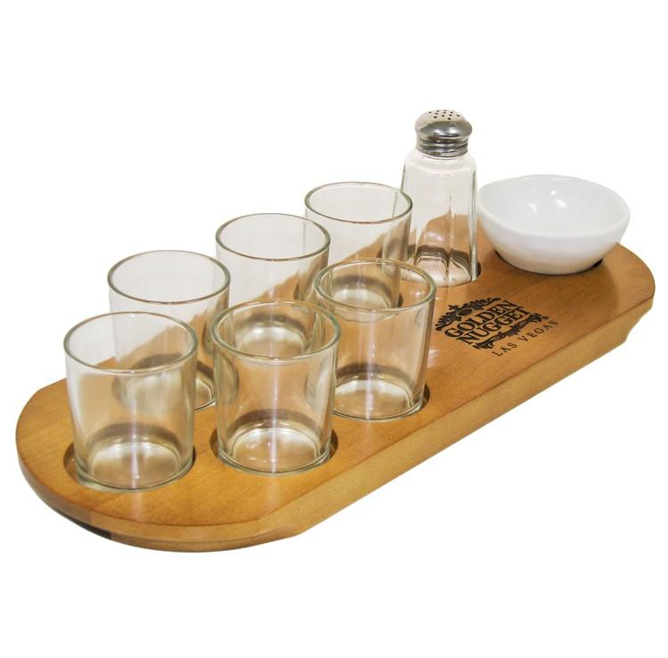 Shot Serving Tray w/ Garnish Bowl
