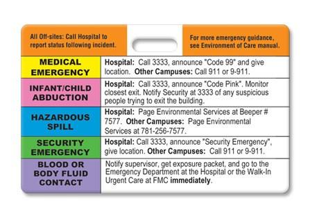 Hospital Emergency Codes Badge
