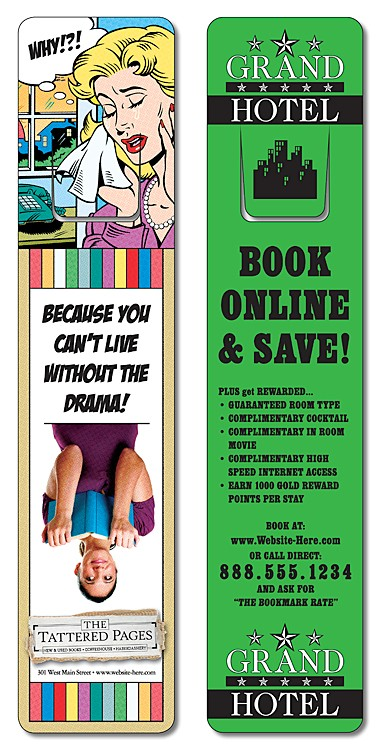 Plastic Bookmark - 1.75x8 UV-Coated (1S) w/Page Holder - 10 pt.