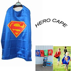 70cm Single layer Blue Superhero cape for Children for Birthday Party
