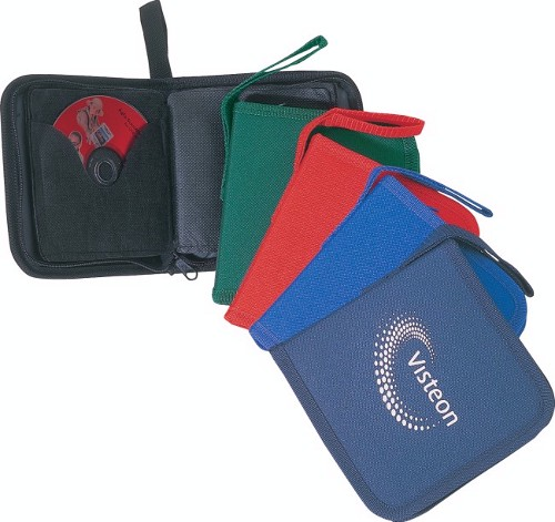 Polyester 12 CDs holder with handle, full zippered closure