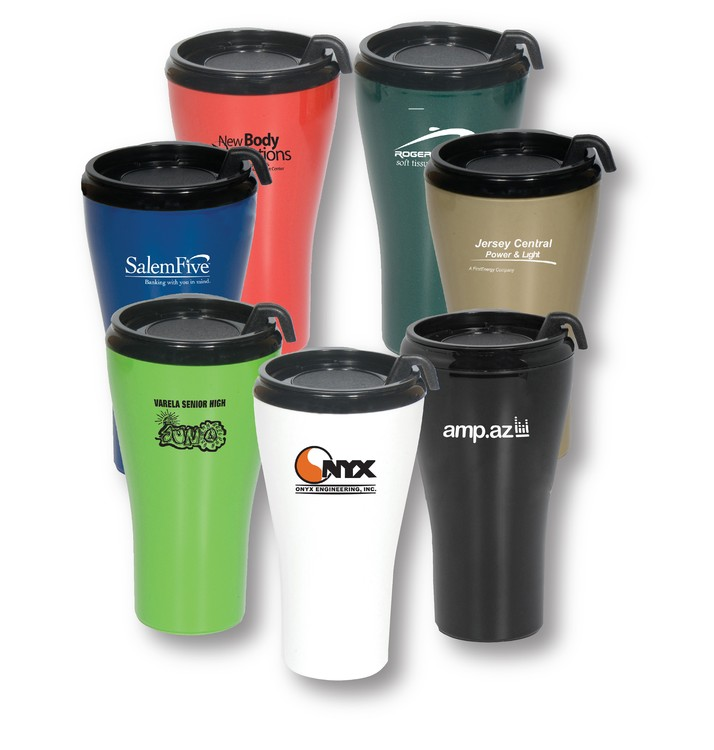 WGT16 16 OZ Double Wall Plastic Insulated Omega Mug with Slider Lid and  Handle