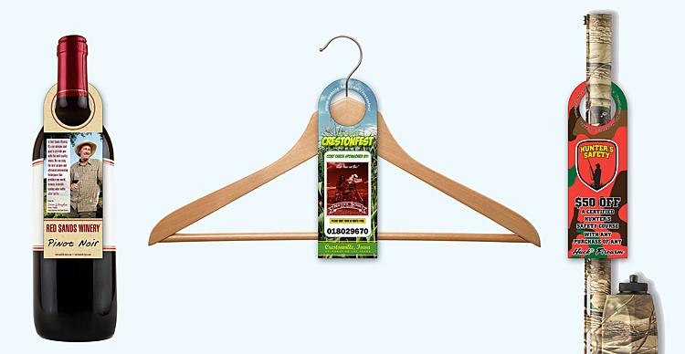 UV Coated (1S) Bottle Hanger - 2.5 x 7.625 (Round Top w/1.5625 hole)