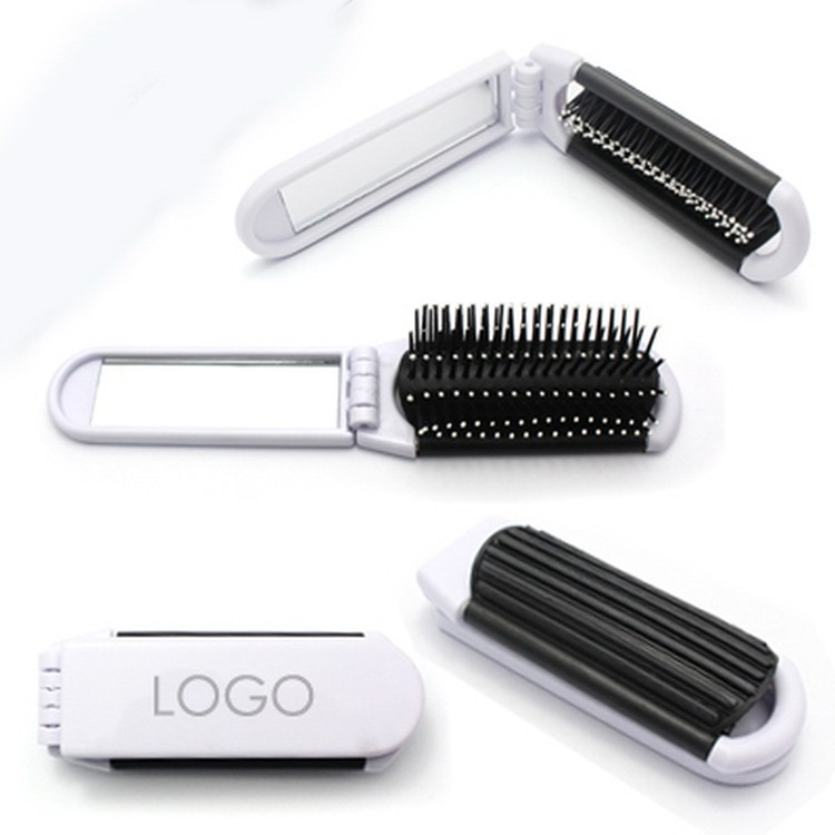 White Folding And Portable Plastic Mirror And Comb