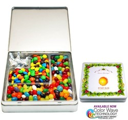 Gourmet Holiday Tin Gift Box with 3 L Shape Slots Gourmet Fillings