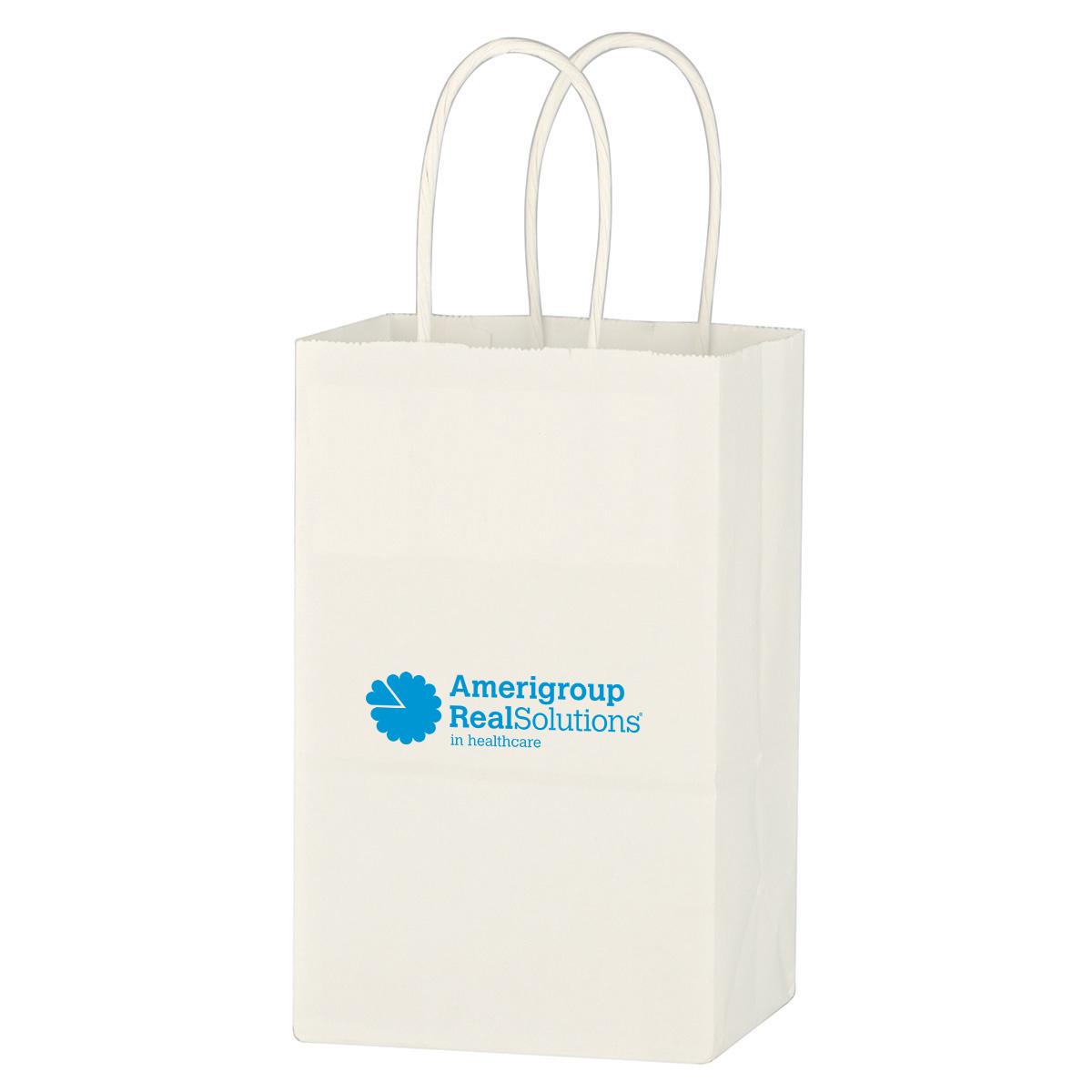 Kraft Paper White Shopping Bag - 5-1/4