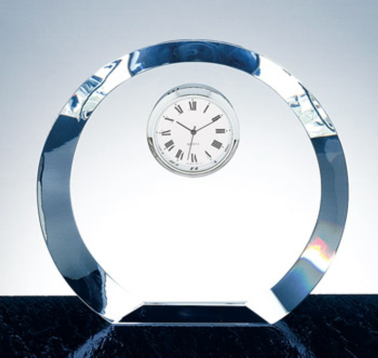 Eclipse Circle Clock-Silver Dial-Optic Crystal