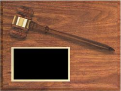 9 x 12 Walnut Finish Plaques with Gavel