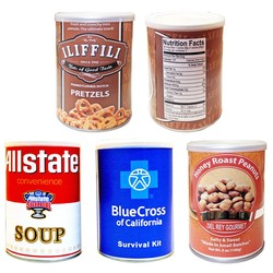 Custom Imprinted Tin Cans Filed with Cashews