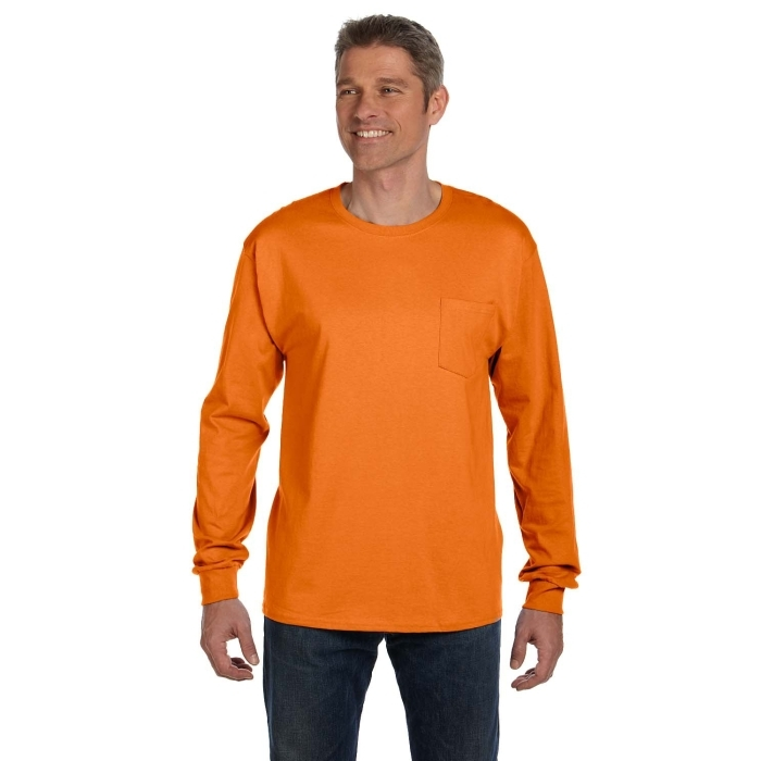 c142a8040a6e HANES MEN'S 6.1 OZ TAGLESS LONG-SLEEVE POCKET T-SHIRT | WOWPromos  Promotional Products