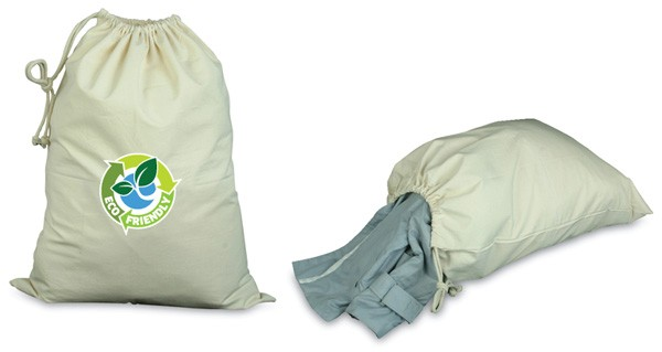 Polyester fabric laundry bag with dual zippered closure and two interior zippered mesh pockets.