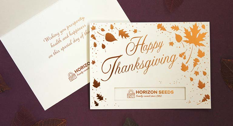 Thanksgiving greeting cards with company logo | Warwick, ASI supplier