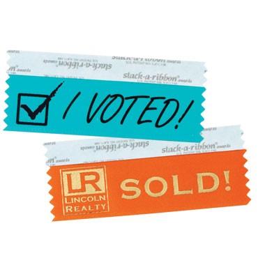 Custom Badge Ribbon   4 x 1 5/8, 1 Color Foil Stamp - 4 x 1 5/8 Custom Award Ribbon-1 Color Foil Stamp