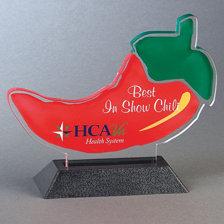 CHILI PEPPER Snappy up to 24 sq.in. Any Shape Acrylic In A Base