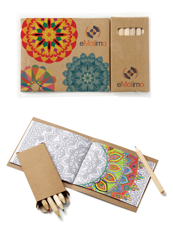 Custom Cover Adult Coloring Book & 6-Color Pencil Set To-Go