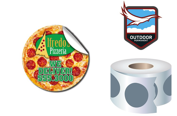 Roll Stickers / Decal - Outdoor Permanent - 2.0 Diameter Round Shape