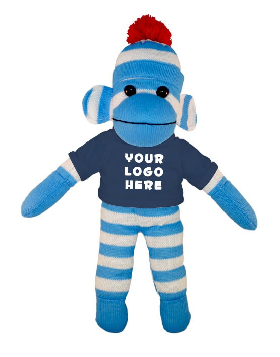 Blue Sock Monkey (Plush) with tee Stuffed Animal