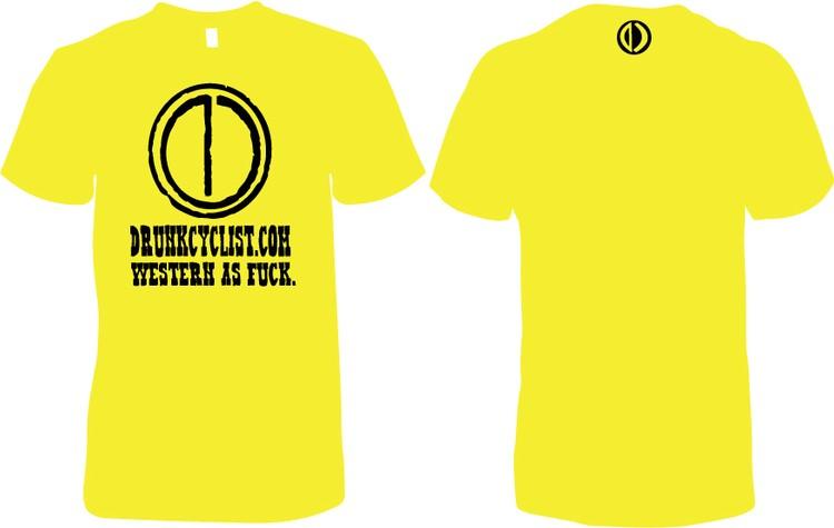 Drunk Cyclist Western as F*ck Yellow T-Shirt Ladies