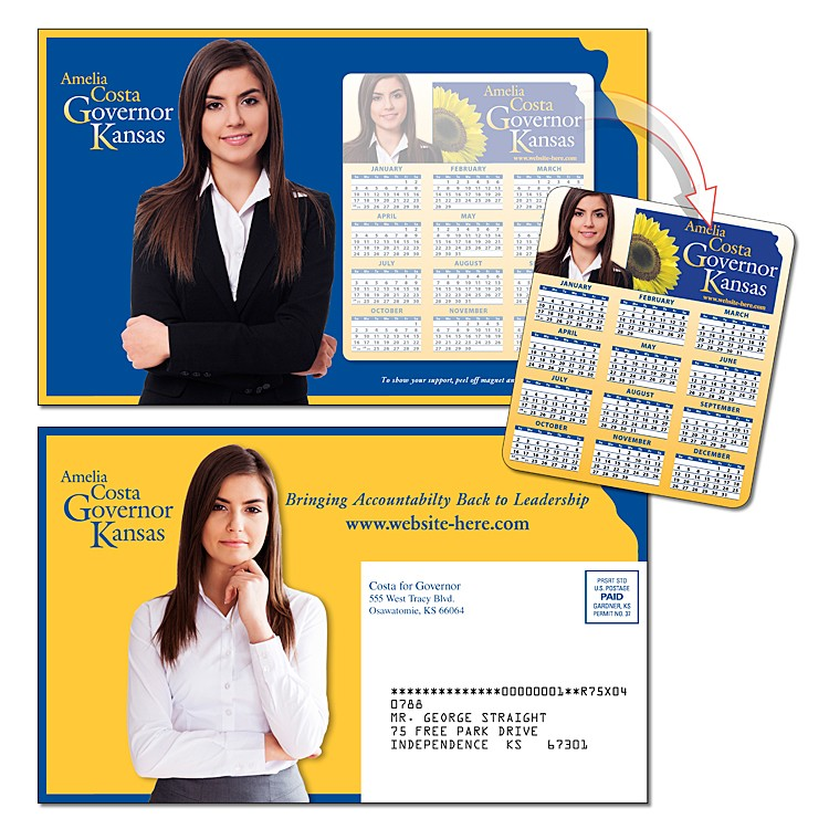 Political Magna-Peel Postcard (8.5x5.25) - Laminated with 3.5x4 Magnet (25 mil.) - 14 pt.