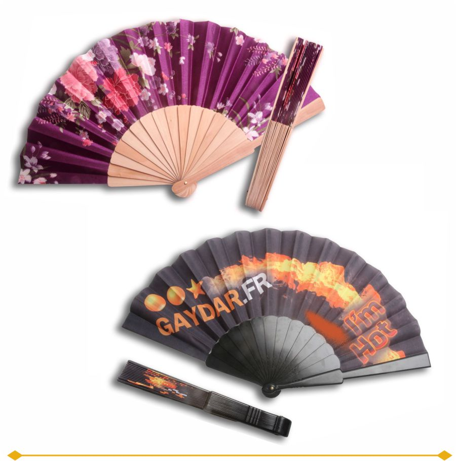 Fabric Folding Fans are custom printed with your full color print and available with either plastic or rustic wood handles.