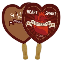 Announcement Hand Fan - 8.5x8 Heart Shaped Laminated - 14 pt.
