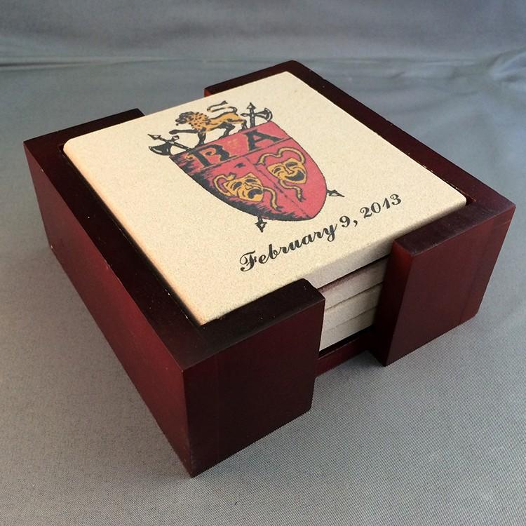 Tumbled Stone Coasters - Mahogany Boxed Set of 4 Absorbent White Sandstone