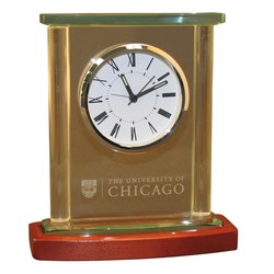 Twin Pillar Glass & Wood Clock with Beveled Cap