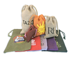 Colored Jute/ Burlap Drawstring Bag 6x10