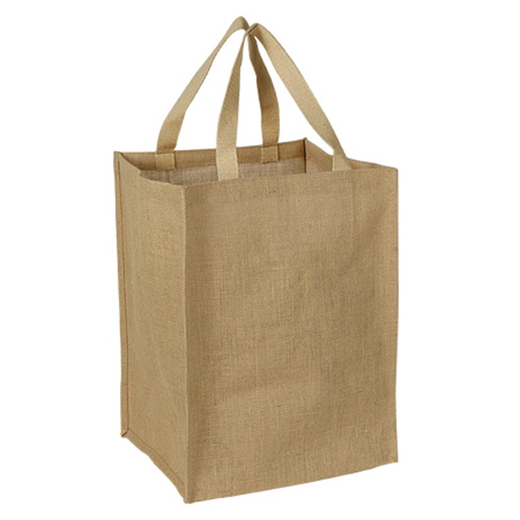 Eco Green Jute / Burlap Grocery Tote Bag