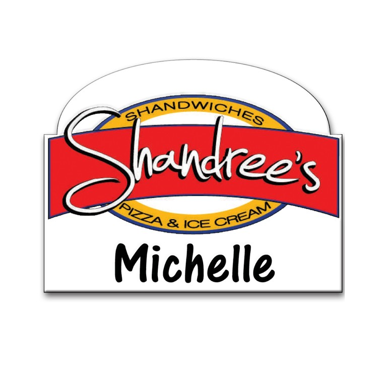 The Siren full color shaped name badge 6-9 sq