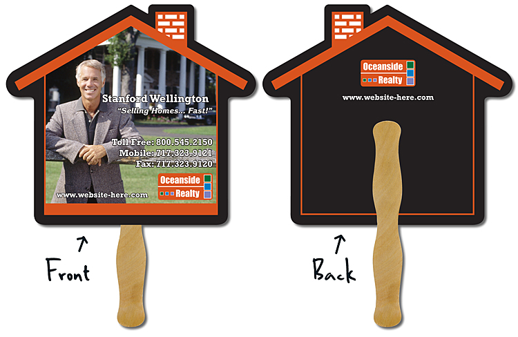 Real Estate Hand Fan - 9.625x8.5 House Shape