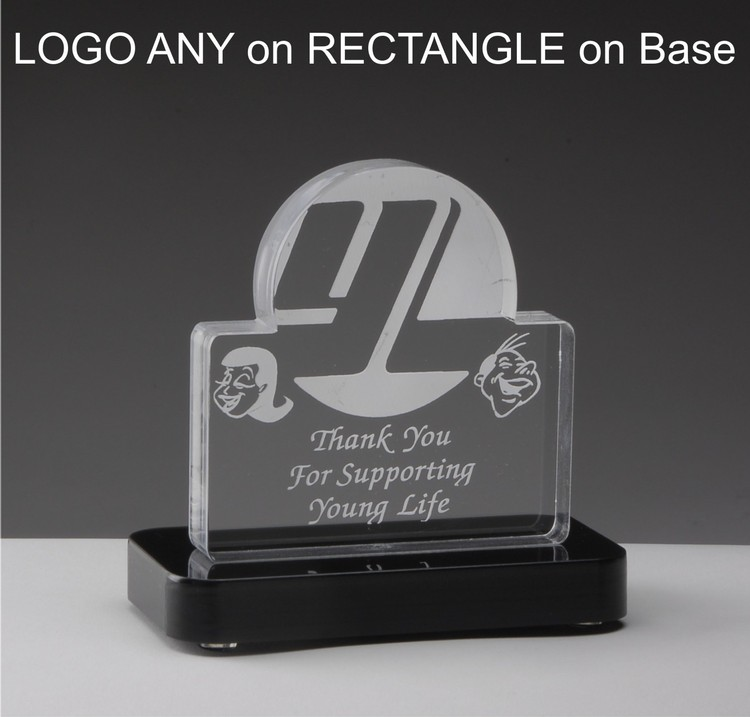 All in One! Any laser cut shape, approx. 28 square inches, laser engraving & black acrylic base incl
