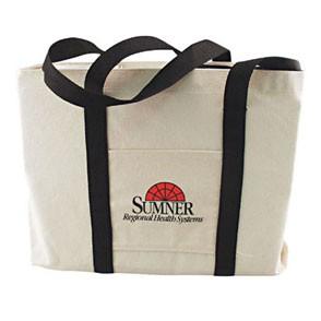 Natural Canvas Tote Bag w/Gusset & Small Pocket (14