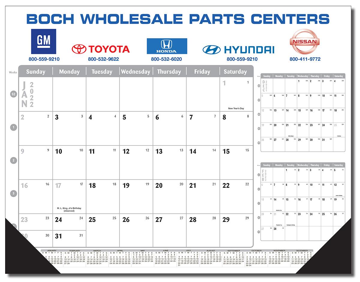 The Silver Fox Desk Pad Calendar