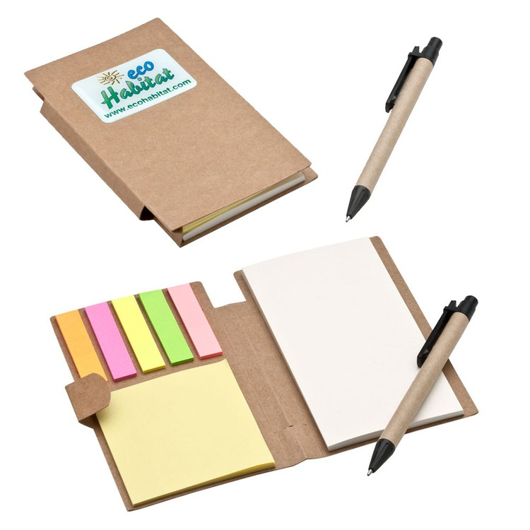 Recycled Pocket Sticky Note Jotter with Full Color Imprint