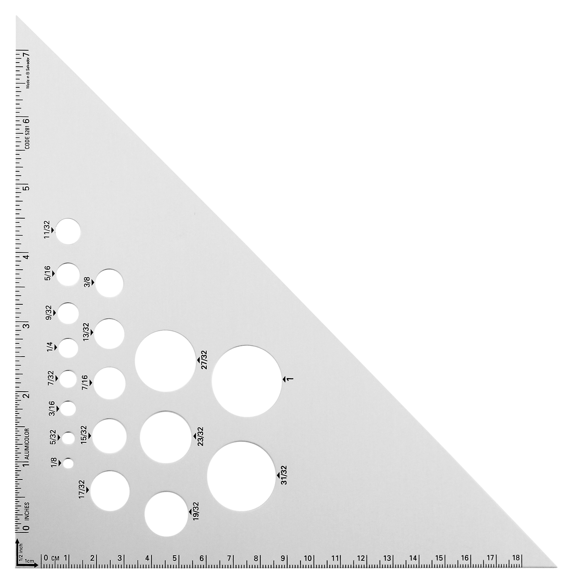 8 inches Aluminum 5281-1 Alumicolor 45-90 Degree Drafting Triangle Silver