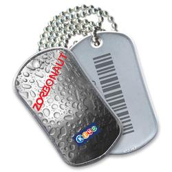 "Stainless Steel Bar-Coded Dog Tag, Full Color Front, Laser Etched Bar Code Reverse, 30"" Neck Chain,"