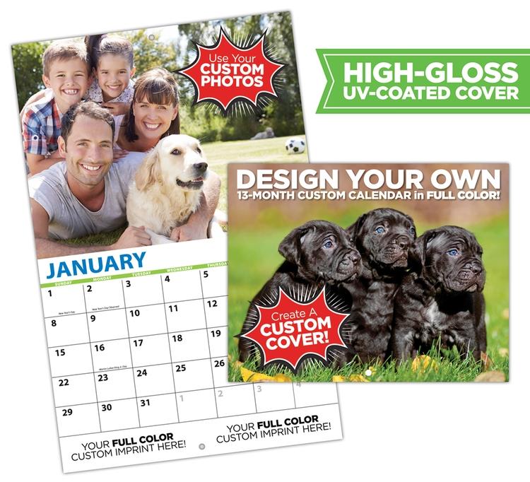 13-Month Custom Wall Calendar (High Gloss UV-Coated Cover)