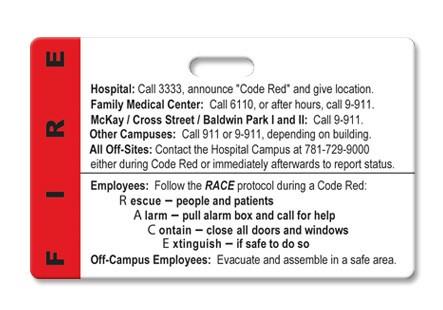 Hospital Fire Emergency Procedure Badge