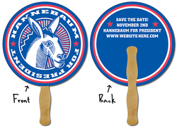 Political Hand Fan - 8.5 Inch Diameter Circle Laminated - 14 pt.
