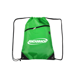Forest Green Drawstring Backpacks with Front Zipper Pocket