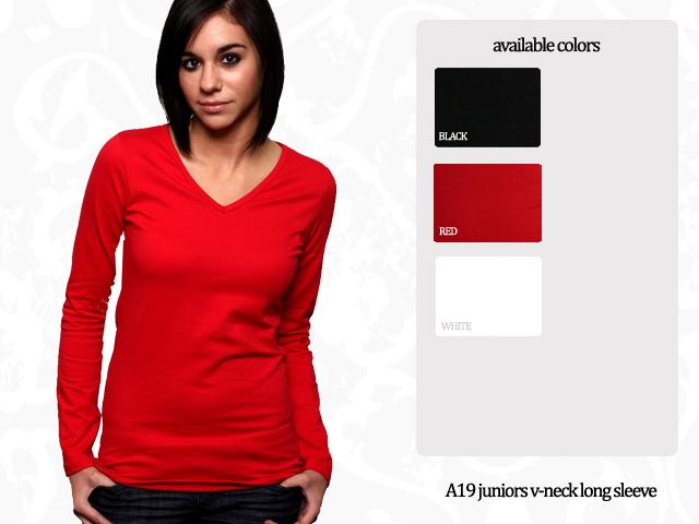 Juniors V-Neck Long Sleeve T-Shirt