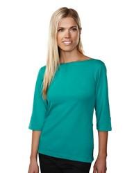 Women's 60/40 3/4-sleeve boat neck knit shirt. - CYPRESS