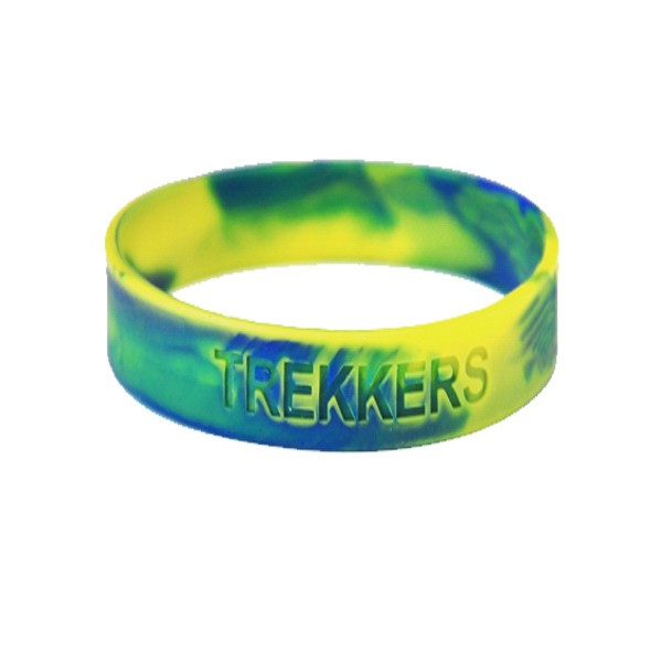 1 Inch Swirl Color Debossed Silicone Wristbands