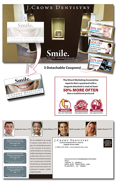 Magna-Peel Postcard (10.5x5.5) - Laminated with Coupons and Business Card Magnet (25 mil.) - 14 pt.