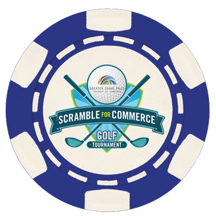 6 Stripe Custom Poker Chip Ball Marker with 6 Stripes - Full Color Direct Print - GOLF